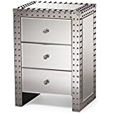 Baxton Studio Azura Modern and Contemporary Hollywood Regency Glamour Style Nightstand Bedside Table, Medium