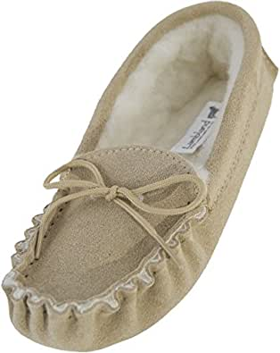 Lambland Womens / Ladies Genuine Suede Sheepskin Moccasins with Soft Sole / Made in Great Britain / US5
