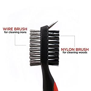 "Shaun Webb's PGA, Golf Brush Set, All-in-1 Cleaner For Irons, Woods, Groove and Shoe with Retractable Zip-line Cord (Over 23"" Long) Lightweight and Ergonomic Design."