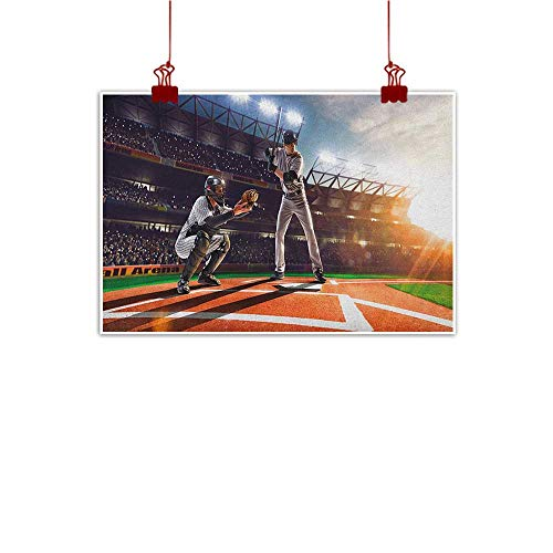 Home Wall Decorations Art Decor Teen Room,Professional Baseball Players in the Stadium Playing the Game Pich Sports Print, Multicolor 24