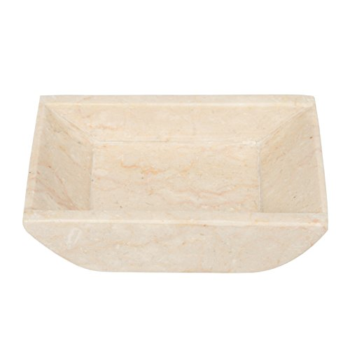 Creative Home 74645 Genuine Champagne Marble Stone Boat Shaped Candle Holder, Small