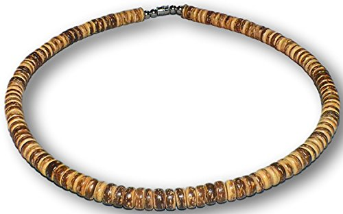 Native Treasure - Brown Tiger Coco Shell Surfer Necklace or Bracelet - 8mm (5/16