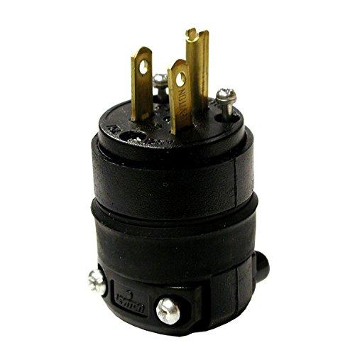 Leviton 515PR 15 Amp Rubber Plug Grounded 125 Volt, 10-Pack, Black, Piece