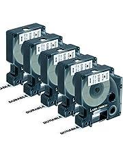 Label Orison Compatible with DYMO D1 Label Tape 12mm 45013 S0720530 Labeller Cassette for DYMO LabelManager 160 280 210D 420P Label Maker,Black on White,1/2 inch(12mm) x 23 Feet(7m),5 Cartridges