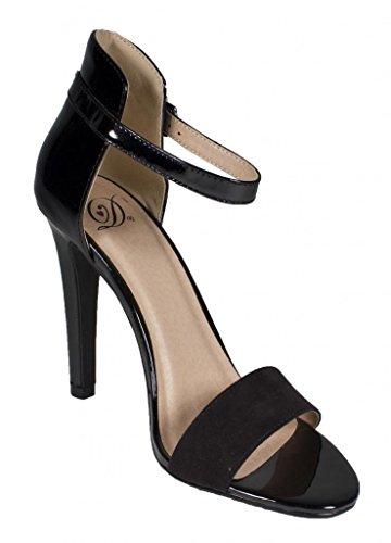 Deliziose Donne Stick Pumps-shoes In Vernice Nera Similpelle