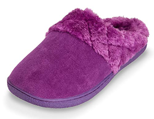Velour Quilted Slipper W Memory Fur Foam Womens Clog Indoor Purple Outdoor Soft Floopi Lined 304 qBIp4X