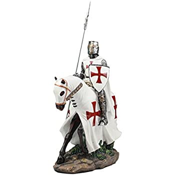 Ebros Crusader English Knight On Cavalry Horse Statue 8