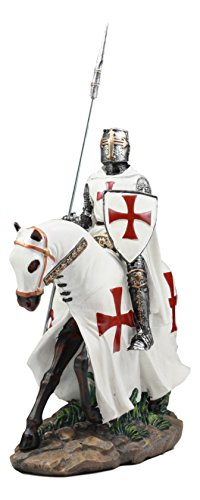 Ebros Crusader English Knight On Cavalry Horse Statue 8 Tall Phalanx Spear Horse Combat Warrior Sculpture