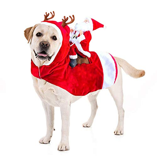 Kyerivs Dog Christmas Costume Dog Santa Claus Costume Dog Cat Christmas Holiday Outfit Pet Christmas Clothes Running Santa Claus Riding on Pet Christmas Gift for Medium to Large Sized