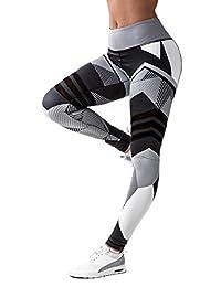 CFR Women's Fitness Leggings High Waist Sport Workout Yoga Pants Geometry Print
