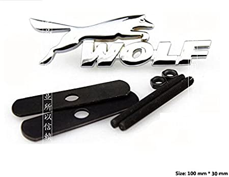 E455 Wolf 3d Kühlergrill Emblem Zeichen Badge Car Sticker Metall Frontgrill Chrom Auto
