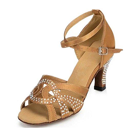 Monie Women's Elegant Jewel Practice Modern Salsa Ballroom Latin Dance Shoes 3