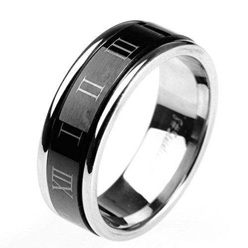 HIJONES Jewellery Mens Womens Stainless Steel Roman Numerals Turn Luck Rings