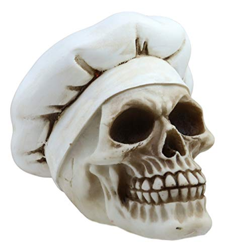 Ebros Spooky Head Chef Skull Statue Hell's Kitchen Maestro Skeleton Cranium Figurine As Day Of The Dead Halloween Macabre Decor Sculpture DOD Cook Iron Chef Ghost Ossuary Death Decore]()