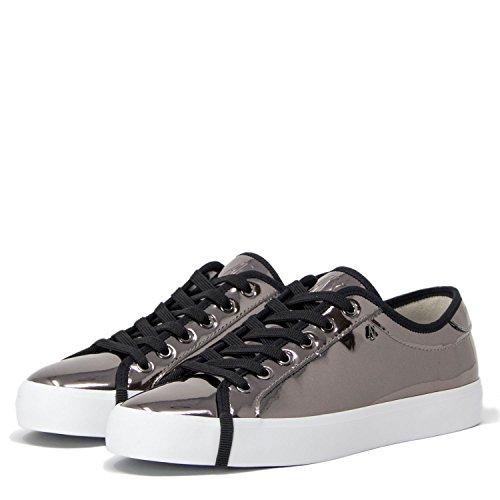 A|X Armani Exchange Women's Metallic Low Cut Sneaker, Gun Metal, 9 Medium - Armani Exchange Buy