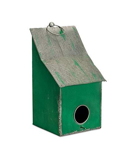 Diva At Home Set of 2 Gray and Green Distressed Decorative Birdhouse with Hanging Hook - Birdbath Decorative Fiberglass