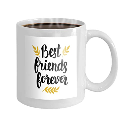 - Mug Personalized Coffee Mug Personalized Gifts 11oz White tea cup best friends forever quote modern lettering black golden colors typographic greeting cardsers