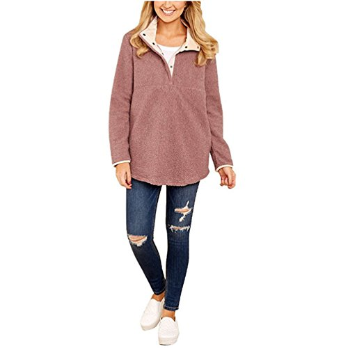 Manches Laine Longues Zhiyuanan Femme Stand Pull Chandail Rose Couleur Unie Casual Sweater Loose Simple Collier Boutonnage En zBRAUq