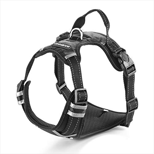 INVENHO Dog Harness Reflective Adjustable No Pull Pet Vest Oxford Vest for Dogs Easy Control for Small Medium Large Extra Dogs(M,Black)