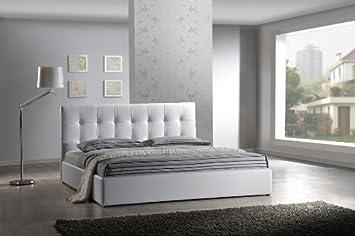 Lederbett Design Polsterbett Leder Betten Modell in weiß 160x200 cm  Bettrahmen Matratzen-Größe Bettgestelle mit Lattenrost inklusive  Polsterbetten ...