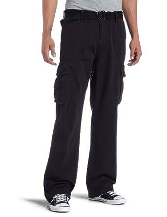 Unionbay Men's Cotton Twill Survivor Cargo Pant, Black Belt, 29x30