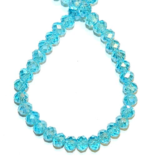 Bead Jewelry Making Light Teal Blue AB 6mm Rondelle Faceted Cut Crystal Glass Beads 16