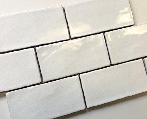 3x6 White Crackled Ceramic Tile Subway Backsplash Wall