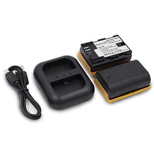 ENEGON Replacement Battery (2-Pack) and Rapid Dual Charger for Canon LP-E6, LP-E6N and Canon Canon EOS 5D Mark II/III/IV, 5DS, 5DS R, 6D, 7D, 7D Mark II, 60D, 60Da, 70D, 80D, XC10