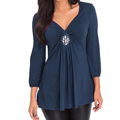 AOJIAN Blouse Women Long Sleeve Diamond Pleats Ruched V Neck Fashion Tops ()