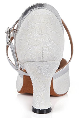 Honeystore Womens Criss Cross Strap Lace Mary Jane Dance Shoes White X3EAR286