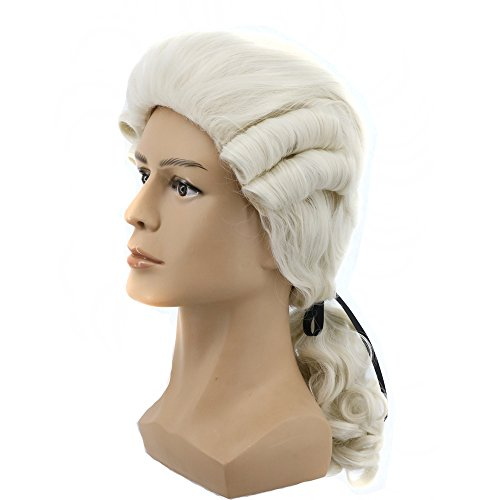 (Yuehong Long Mens George Washington Cosplay Curly White Gentleman Lawyer Wig )