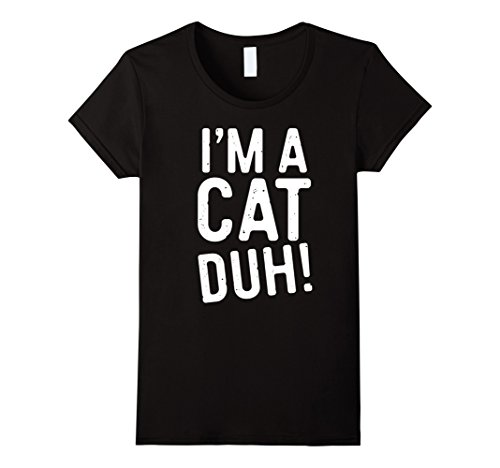 The Cat In The Hat Female Costume (Womens I'm A Cat Duh! T-Shirt Funny Halloween Costume Gift Shirt XL Black)