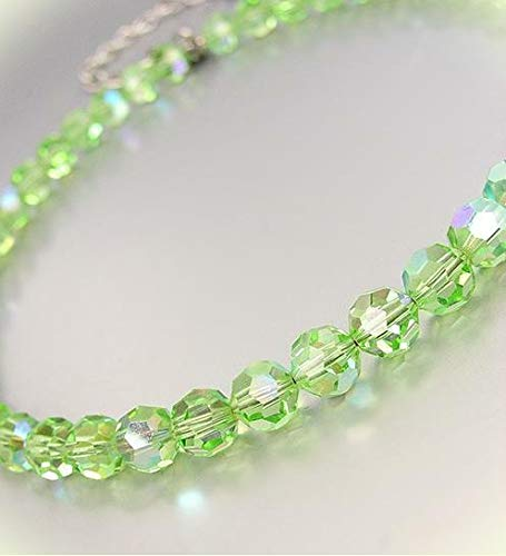 Luxurious Sparkle Faceted Light Green Peridot Ab Crystals 15