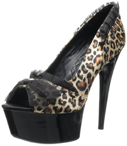 Penthouse Women's Shoes 6 Inch Stiletto Lace Open Toe Pump (Leopard;5)