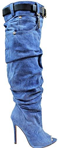 LL Lopez-1 Women Open Toe Knee High Slouchy Baggy Scrunch Denim Stiletto Heel Boots Blue 8