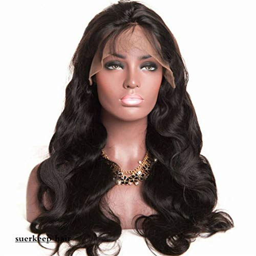 Suerkeep Brazilian Body Wave Wig Lace Front Pre-Plucked Unprocessed 130% Density Virgin Human Hair Wigs With Baby Hair Deals (16Inch, Natural Color)