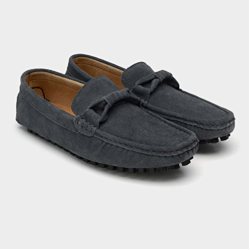 Scarpe EU Fashion Nhatycir 44 vera per Mocassini Slip on Business Decor guida Color Dimensione Shoes Mocassini uomo Mocassini morbida Penny Darkgray Marrone in suola Flat pelle da Cravatta 66qwrFfTx