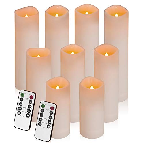 Flameless Candles, Led Candles Set of 9 Battery Operated Candles (Height 5