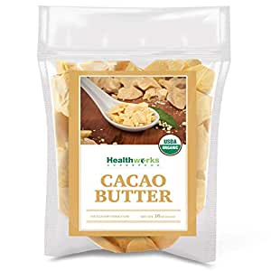 Healthworks Cacao Butter (16 Ounces / 1 Pound) Organic | Unrefined Non-Deodorized Cocoa | Certified Organic from Peru | Sugar-Free, Keto, Vegan & Non-GMO | Antioxidant Superfood