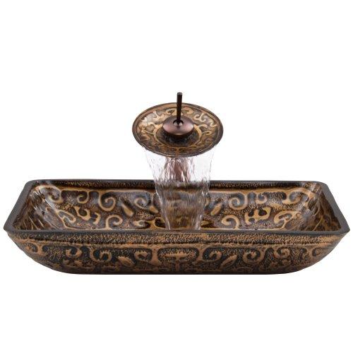 Brown Glass Sink - VIGO Rectangular Golden Greek Glass Vessel Bathroom Sink and Waterfall Faucet with Pop Up, Oil Rubbed Bronze