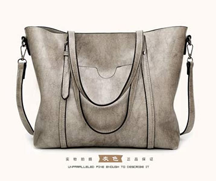 67db61700c Amazon.com  SENDEFN Designer Women Handbag Female PU Leather Bags Handbags  Ladies Portable Shoulder Bag Office Ladies Hobos Bag Totes Color Gray  32x29x12cm  ...