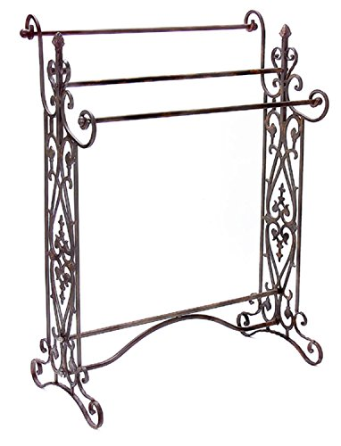 35'' Charismatic Quilt/Towel Rack with Ornate Flourish Accents by CC Home Furnishings