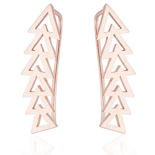Arrow Geometric Shape Ear Climber Triangle Crawler Earrings (Rose Gold)