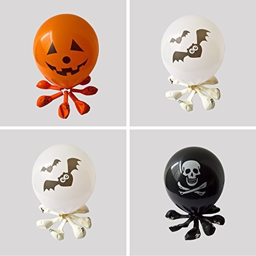 Halloween Balloons for Party Decoration-100% Latex-12 Inches Orange & Black &White Colors- 50 pieces