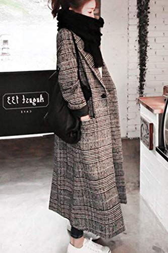 Houndstooth Invernali Breasted Giacca Costume Baggy Grey Bavero Vento Lunga Manica Tasche Outerwear Huixin Anteriori Single Coat Donna Confortevole Parka qq0SE
