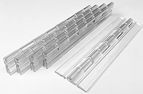 """1 1//2/"""" Wide x 6/"""" Long Clear 5 PACK Plastic Acrylic Open Center 6/"""" Hinge"""