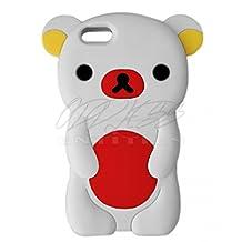 EVIL EMPIRE® 3D Cute Teddy Rilakkuma Bear Silicone Case for Apple iPhone 4 4S 4G (White/Red)