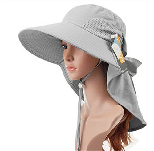 Auch Adjustable Quick-drying Outdoor UV Spf 50+ Large Brim Visor/Boonie/Sand Beach Sun Hat with Net Protection for Women w/Horsetails(Gray)