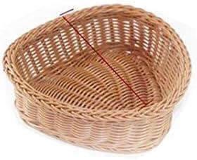 パンのバスケット、居間/ピクニックの軽食のために適したハート形の創造的なパンのバスケット、編まれた収納バスケット(ブラウン、20 * 8 CM) (Color : Brown, Size : Small)