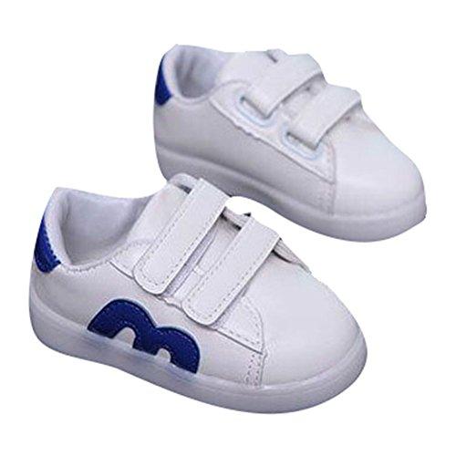 hibote Las muchachas de los niños del niño encienden para arriba los zapatos Zapatillas de deporte del LED azul